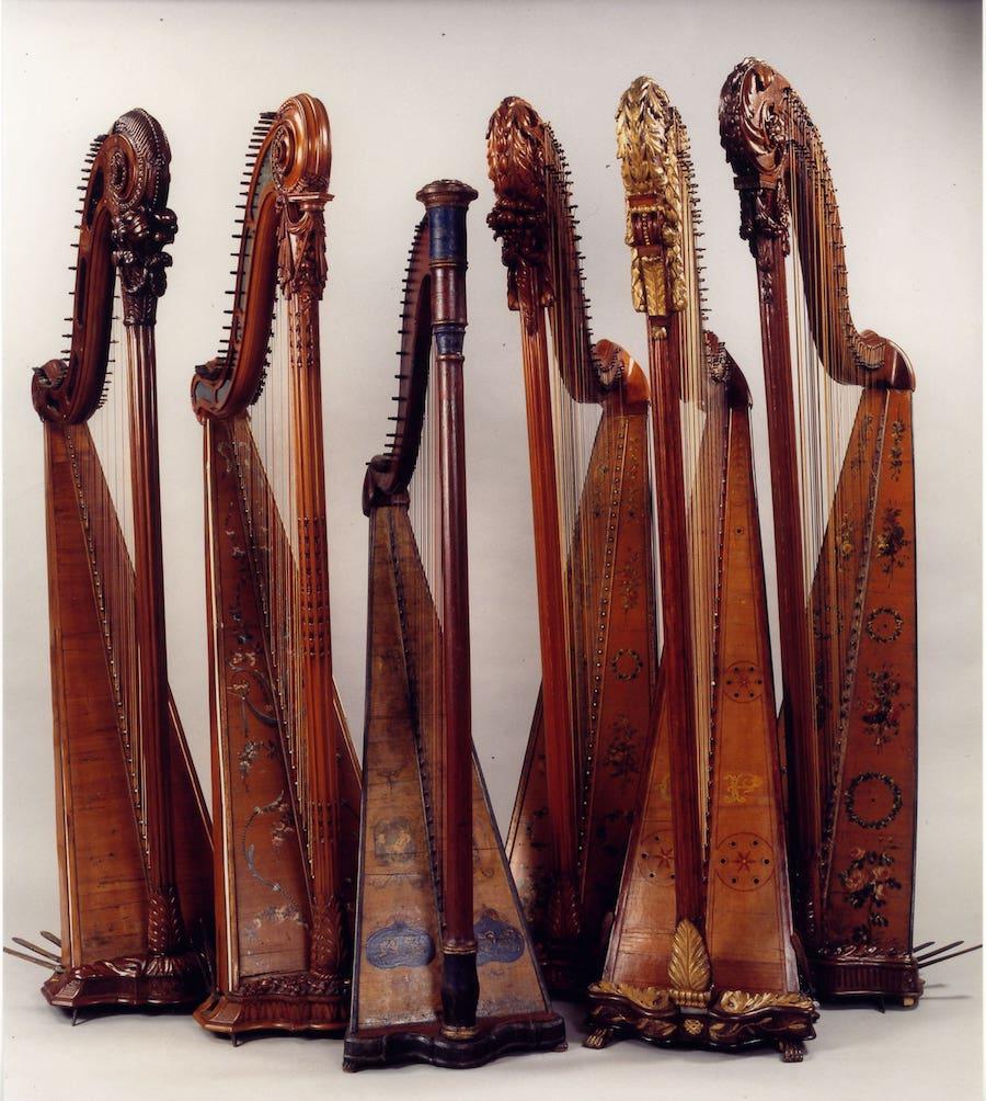 Harps from XVIII century in Casa Giulini, Milan