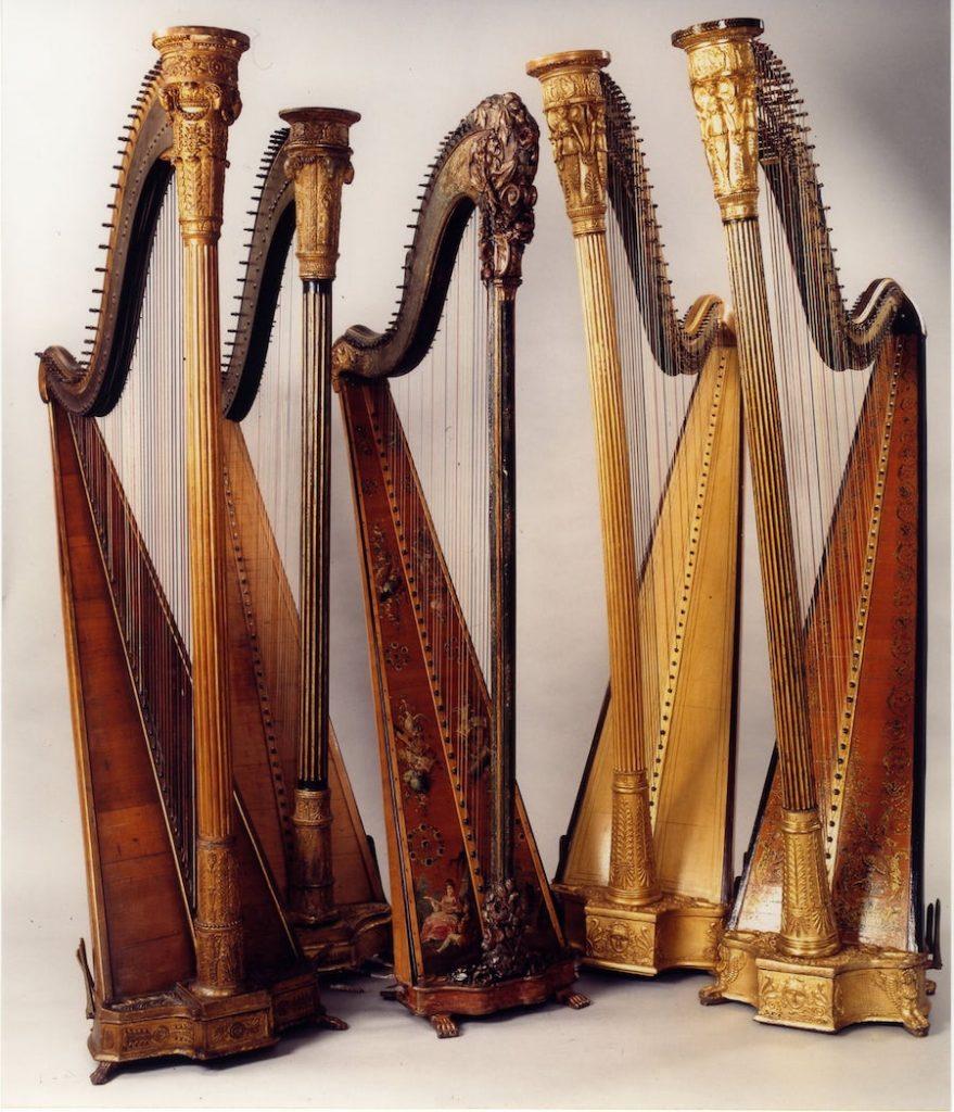 Harps from XIX century in Casa Giulini, Milan